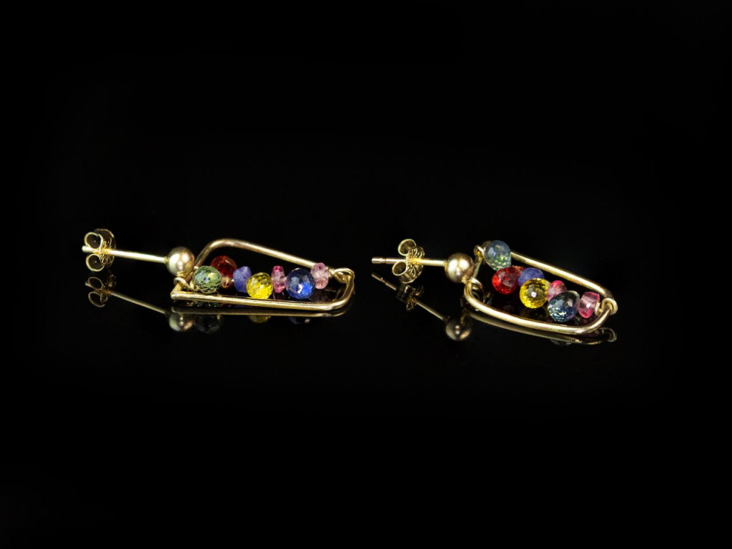 Multi coloured Umba Sapphire | Solid Gold earrings with all shades of the divine gem (sold)