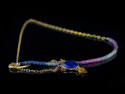 Sapphire All Colours Necklace | Gold necklace with rare shades of Sapphires and a golden leaf with a Padparadscha (sold out)