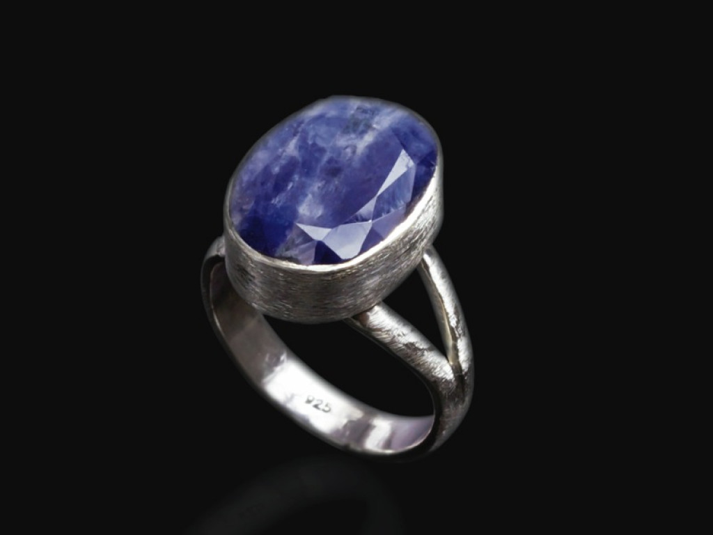 LARGE OVAL SAPPHIRE | Brushed Sterling Silver ring (made to order)
