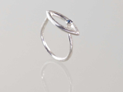 HORUS SAPPHIRE EYE   Matte Sterling Silver Ring with Sapphire