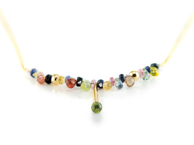 Multi coloured Umba Sapphire | Solid Gold necklace with all shades of the divine gem (sold)