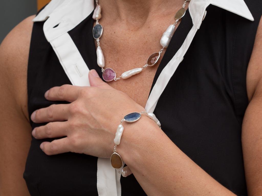 MULTI SAPPHIRE & BIWA PEARLS | Sterling Silver bracelet (sold)