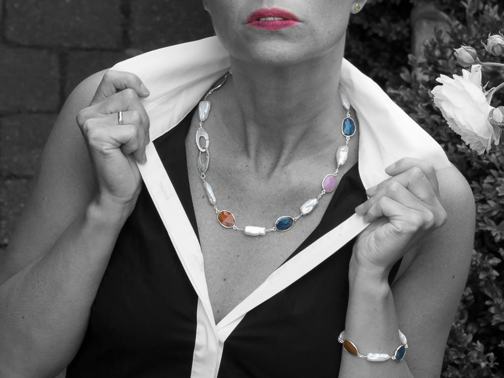 MULTI SAPPHIRE & BIWA PEARLS | Sterling Silver necklace