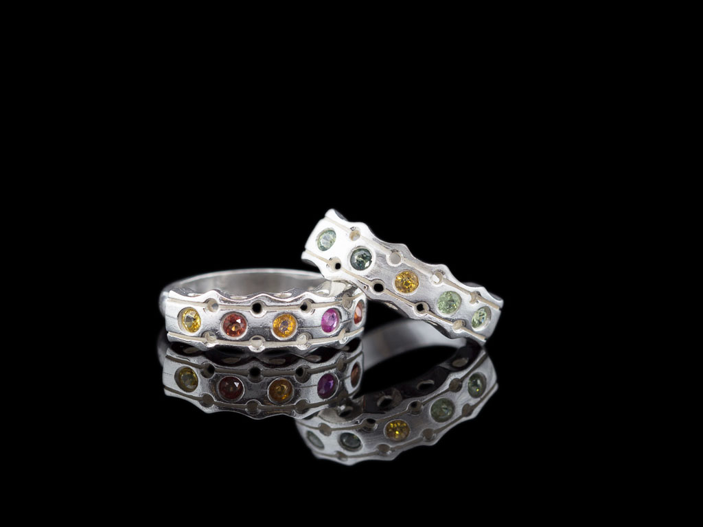 FIVE COLOURFUL SAPPHIRES | Solid Sterling Silver ring