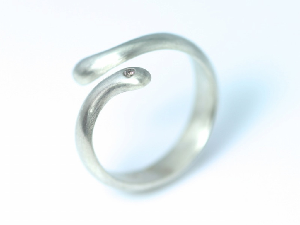 Love - natural Sterling Silver ring with a faceted Cubic Zircon (sold out)