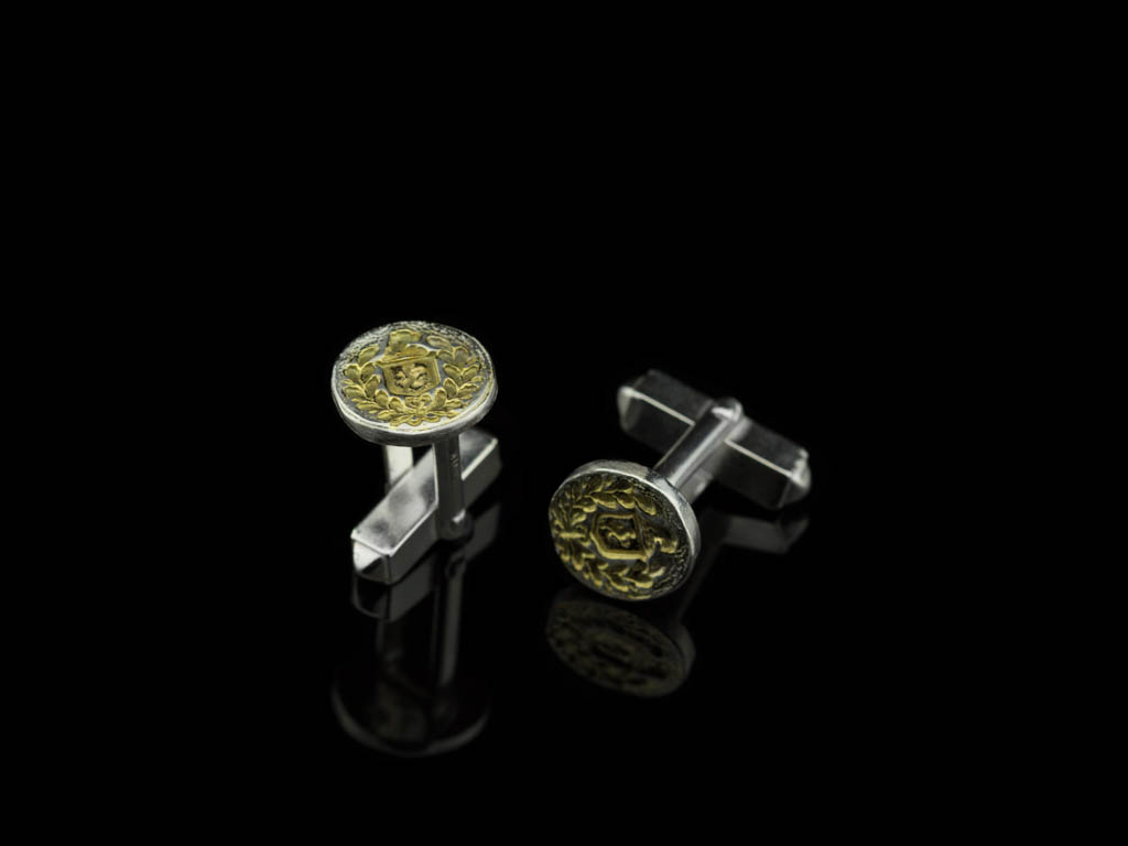 FAMILY CREST | Sterling Silver and 24ct Gold Cufflinks (made to order)