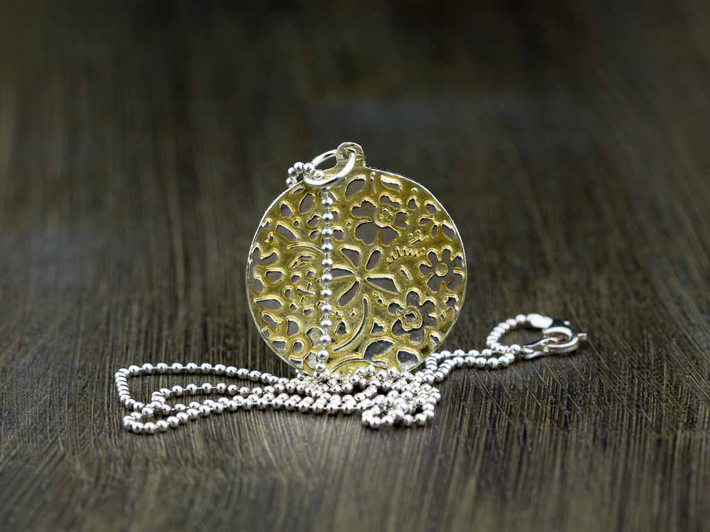 FLOWERS INPIRED BY MATISSE | Sterling Silver necklace with Gold vermeil (sold out)