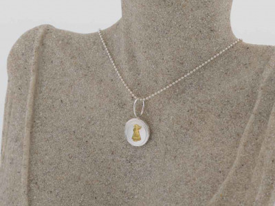LITTLE GIRL WITH BASKET | Sterling Silver necklace partially Gold plated