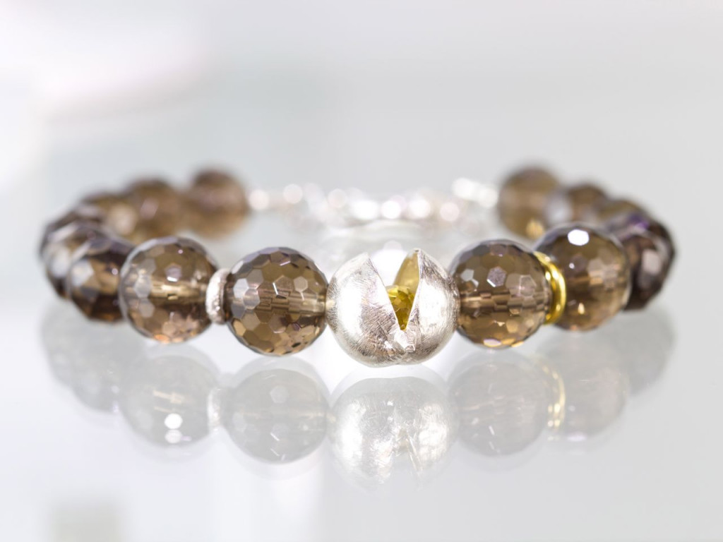 Citrine on Quartz | AAA Smoky Quartz Sphere bracelet with a AAA Citrine Briolett in a Sterling Silver pod (made to order)