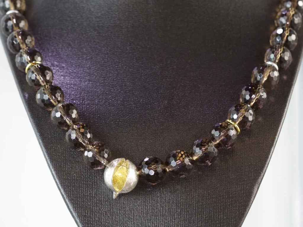Citrine on Quartz | AAA Smoky Quartz Sphere necklace with a AAA Citrine Briolett in a Sterling Silver pod