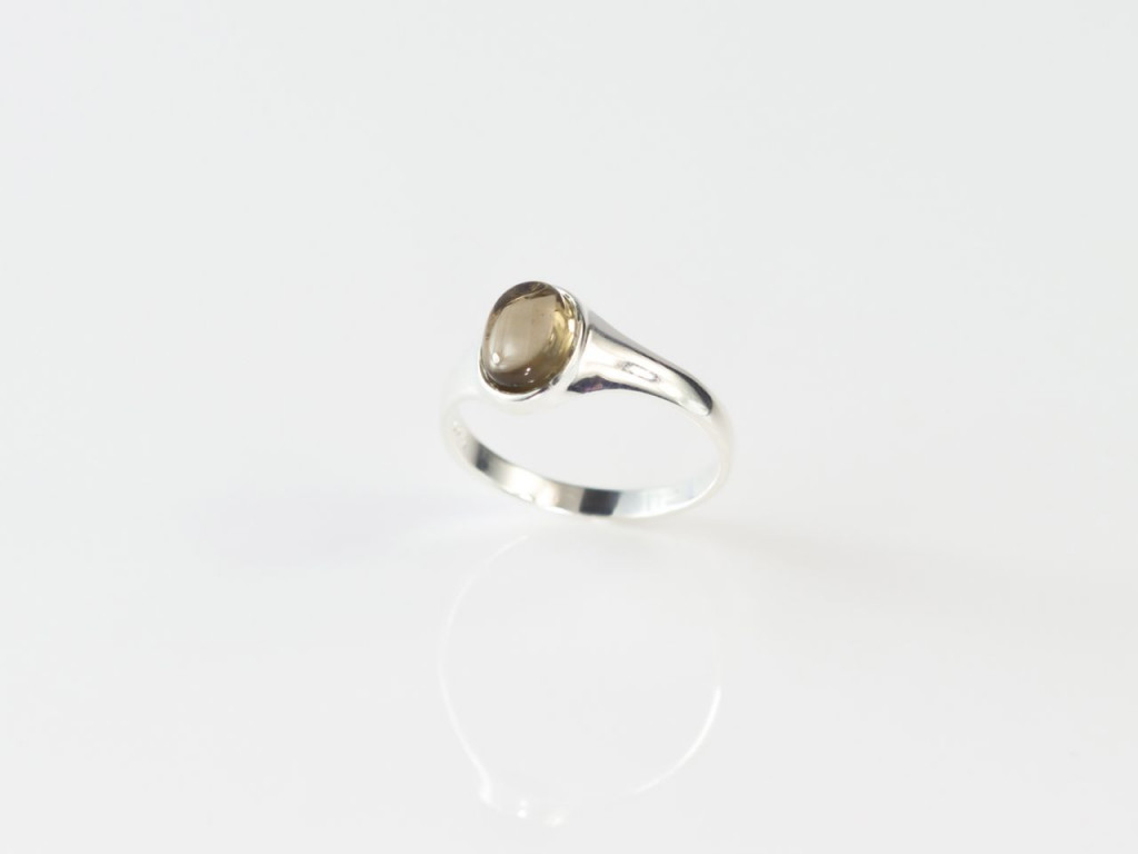Smoky Shiny Ring   Polished Sterling Silver Ring with oval Smoky Quartz Cabochon (sold out)