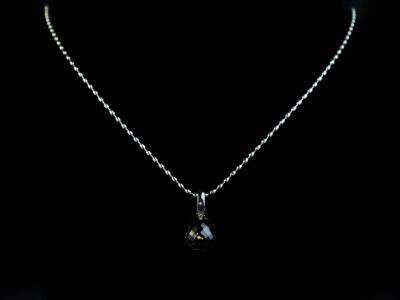 Dark Kristall | Drop shaped Smoky Quartz Sterling Silver necklace