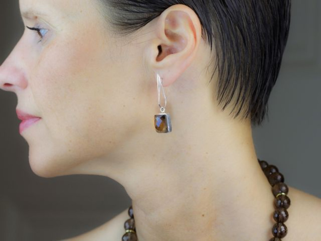 Smoky Square earrings | Sterling Silver with Smoky Quartz faceted brown Crystal