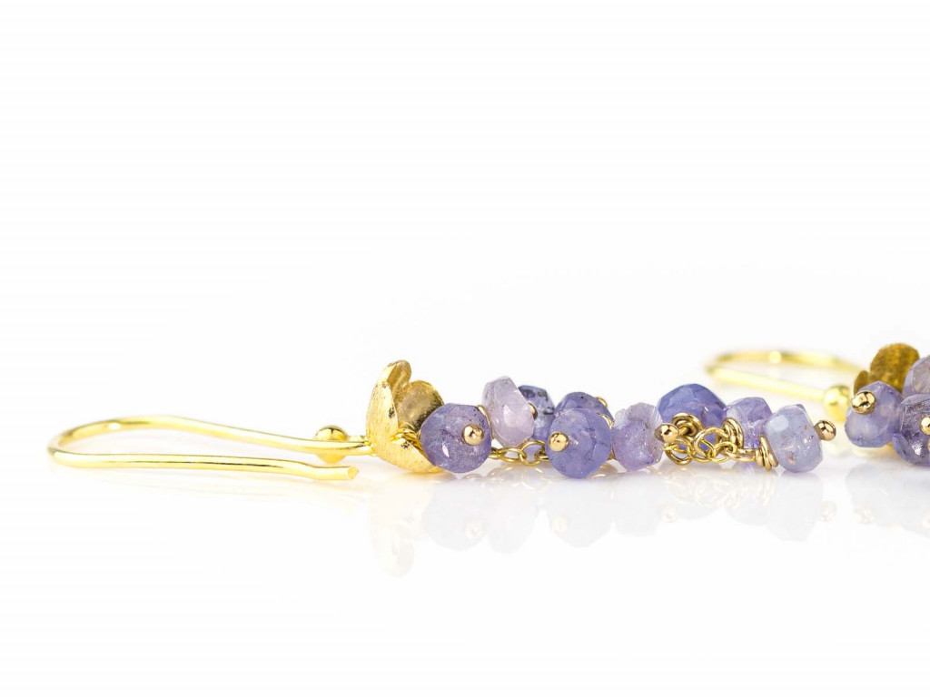 A Bunch Of Tanzanites | dangly earrings in Gold vermeil with flower (made to order)