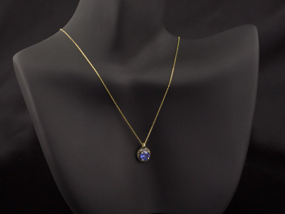 TANZANITE & DIAMONDS | Gold necklace with Silver and Black Rhodium