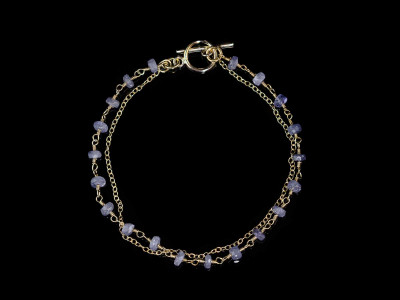 Blue Tanzanite bracelet with Gold chain (sold out)