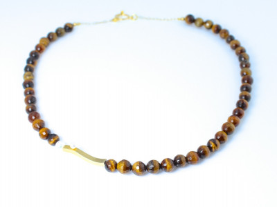 TIGER WITH PEARL | Necklace with Gold vermeil elements