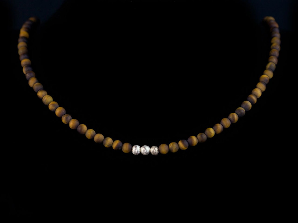 Little Tiger | Necklace with round matte Tiger's Eye and brushed Sterling Silver beads (sold out)