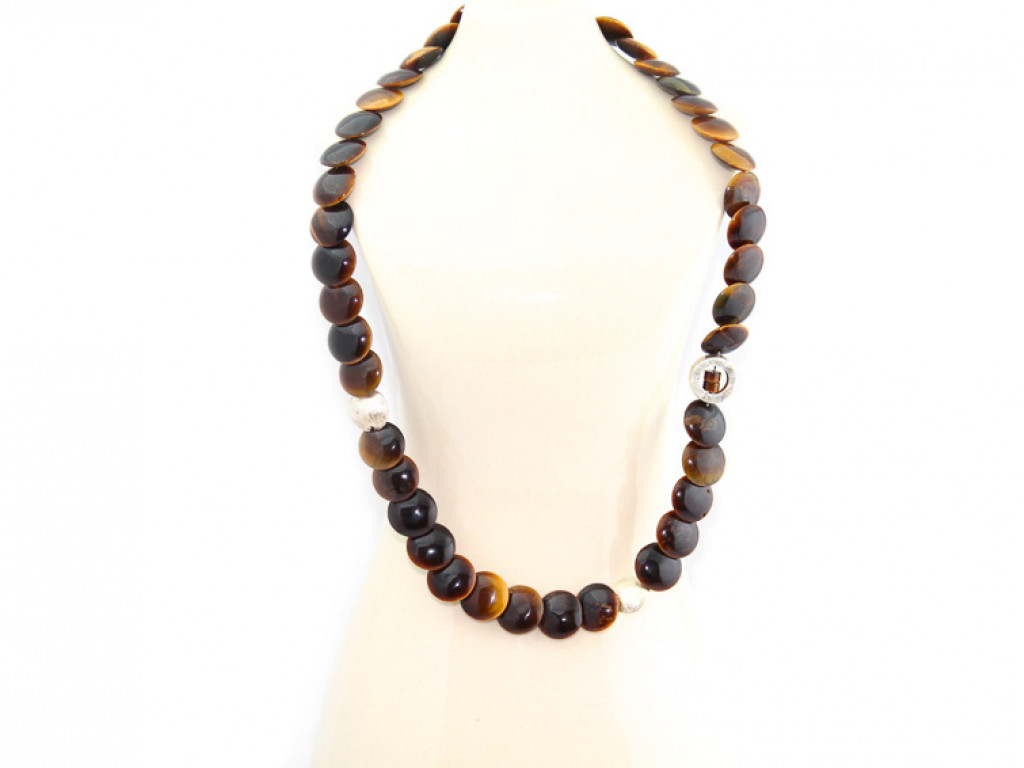 TIGER'S EYE DISCS | Necklace with brushed Sterling Silver applications