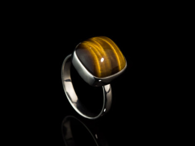 TIGER'S EYE SQUARE CABOCHON   Sterling Silver ring (Sold Out)