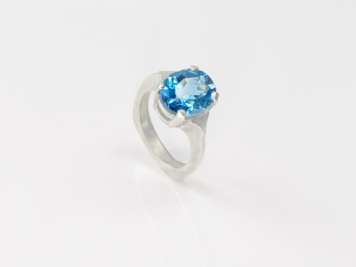 London Blue Topaz Sterling Silver Ring handcrafted (sold out)