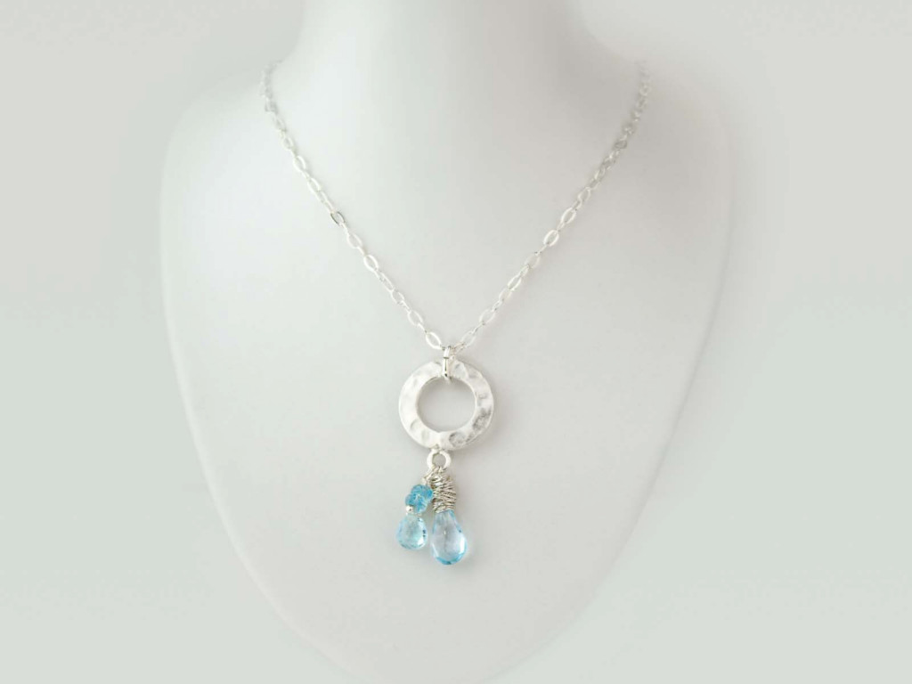 Four Sky Blue Topaz On A Disc | Sterling Silver necklace (Sold out)