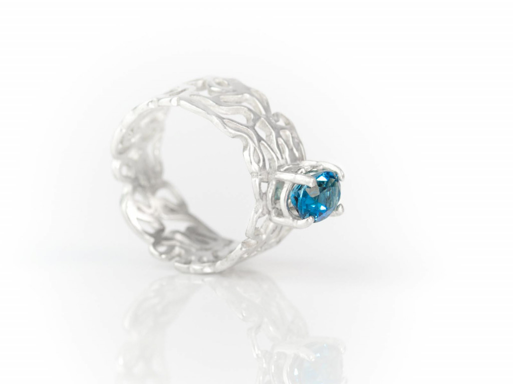 Blue London Topaz crowning a Filigree Sterling Silver ring (sold out)
