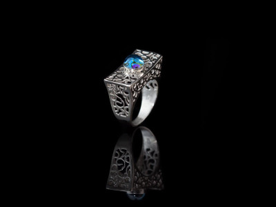 Topaz Silver Ring Swiss Blue Filigree with hidden treasure (sold out)