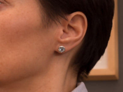 SKY CALLING   Sterling Silver ear studs with Sky Blue Topaz (sold out)