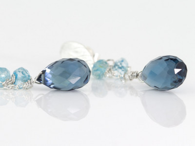 LEAF DROPS | Silver earrings with Sky & London Blue Topaz (Sold out)