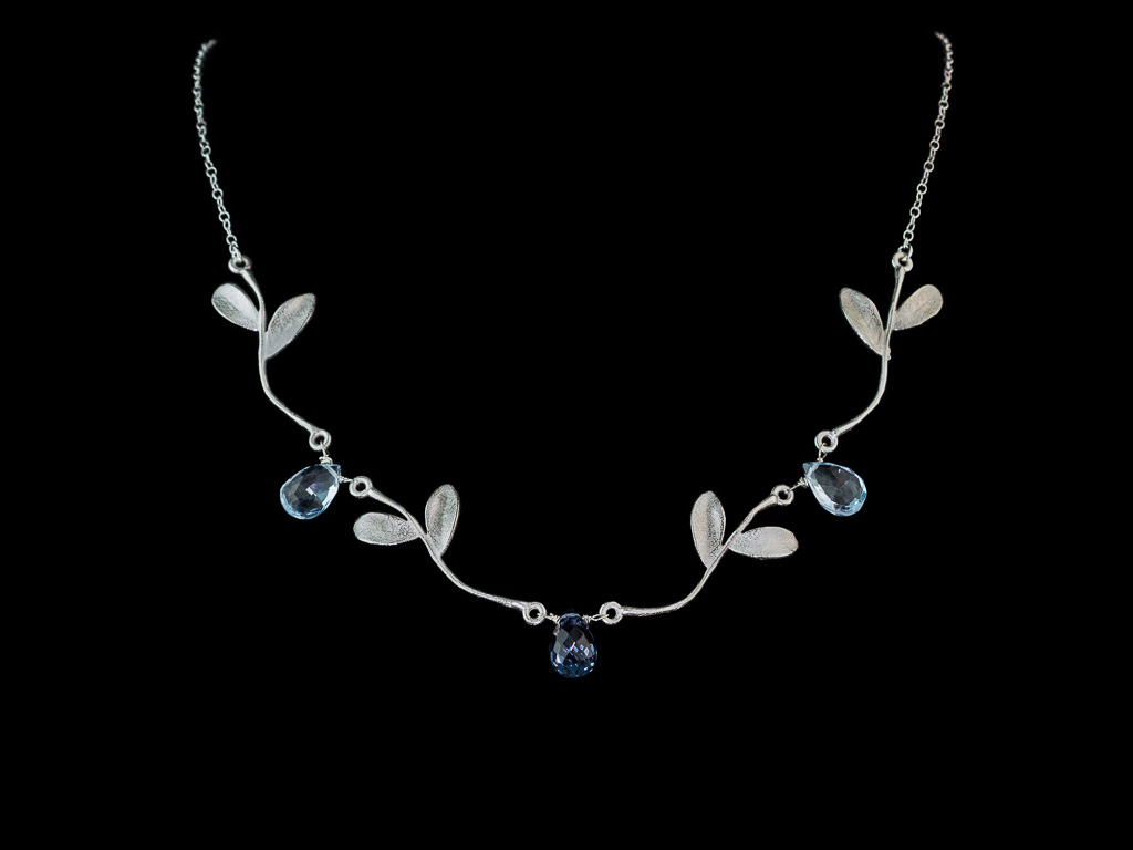 ENCHANTED TOPAZ | Necklace with Silver leaves on twigs (sold)
