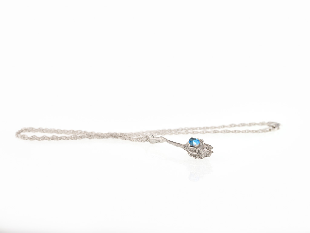 SEEDPOD WITH TOPAZ | Sterling Silver Spiga necklace (made to order)