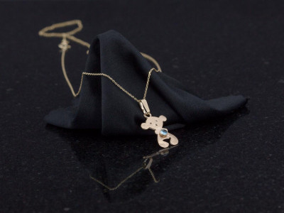 SWEET TEDDYBEAR | Solid Gold necklace with blue Topaz