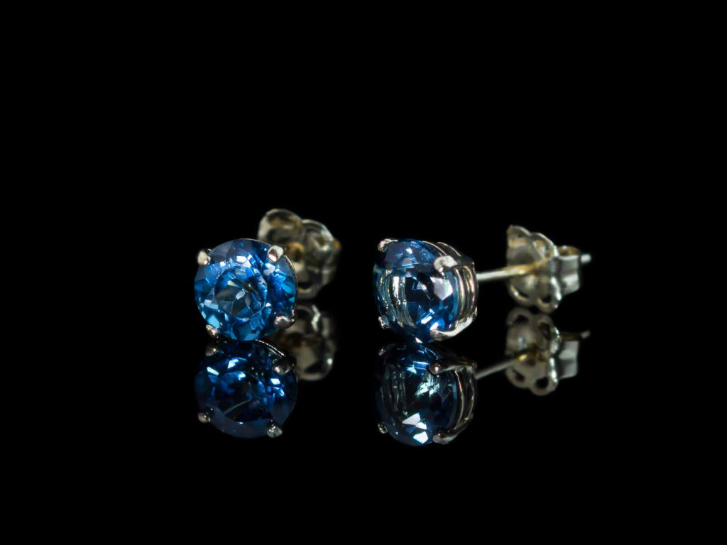 Precious London Blue Topaz ear studs set in nine carat Gold (made to order)