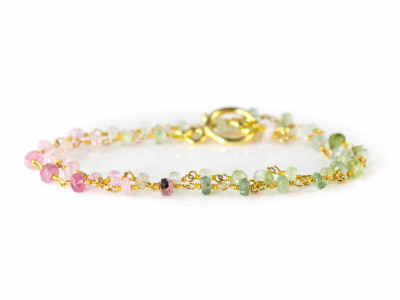 Tourmaline Colours | Gold bracelet or short necklace in green pink and red (sold out)