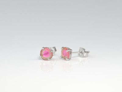 Pink on White Gold Ear Studs | Watermelon Tourmaline set in White Gold (sold out)