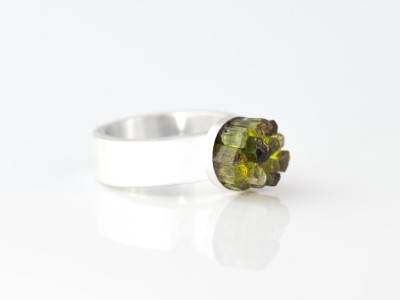 Tourmaline Forest Columns | Sterling Silver Ring (sold)