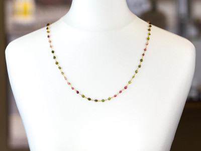 Sweet Colours necklace | Tourmalines in all shades on a golden necklace (made to order)