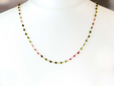 Sweet Colours necklace | Tourmalines in all shades on a golden necklace