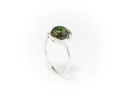 Green Tourmaline Ring in 9ct White Gold with a large polished Cabochon (sold as an engagement ring)