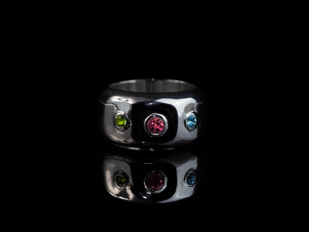 Tourmaline Tricolour Silver Ring | Red Blue Green (sold out)