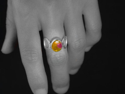 Don't lick | Tourmaline Ring in Sterling Silver with a rare yellow-pink variety (sold out)