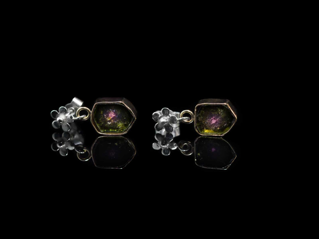 Watermelon Tourmaline earrings | Yellow and White Gold with Flower (sold out)
