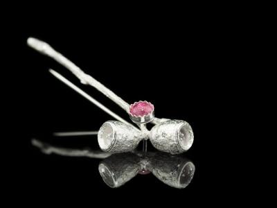 PINK EUCALYPTUS TWIG   Sterling Silver brooch with Tourmaline (made to order)
