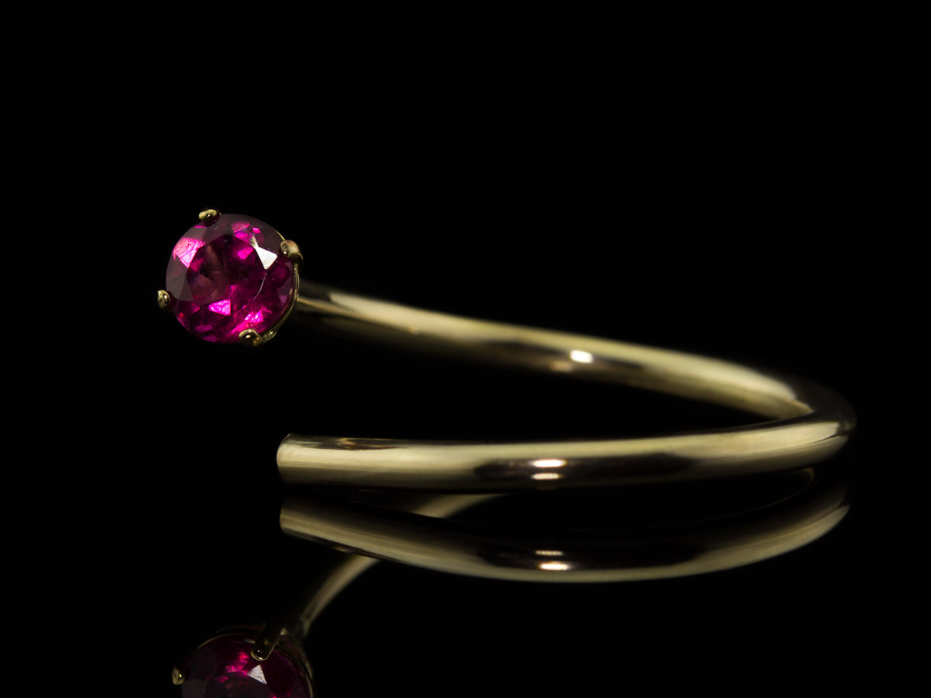 RUBELLITE GOLD   Open ring in solid Gold with Tourmaline (made to order)