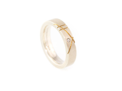 Bauhaus Zirconia | solid Sterling Silver Ring with Gold edges and a CZ (sold)
