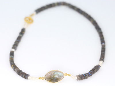 Labradorite Pearl Gold necklace (sold)