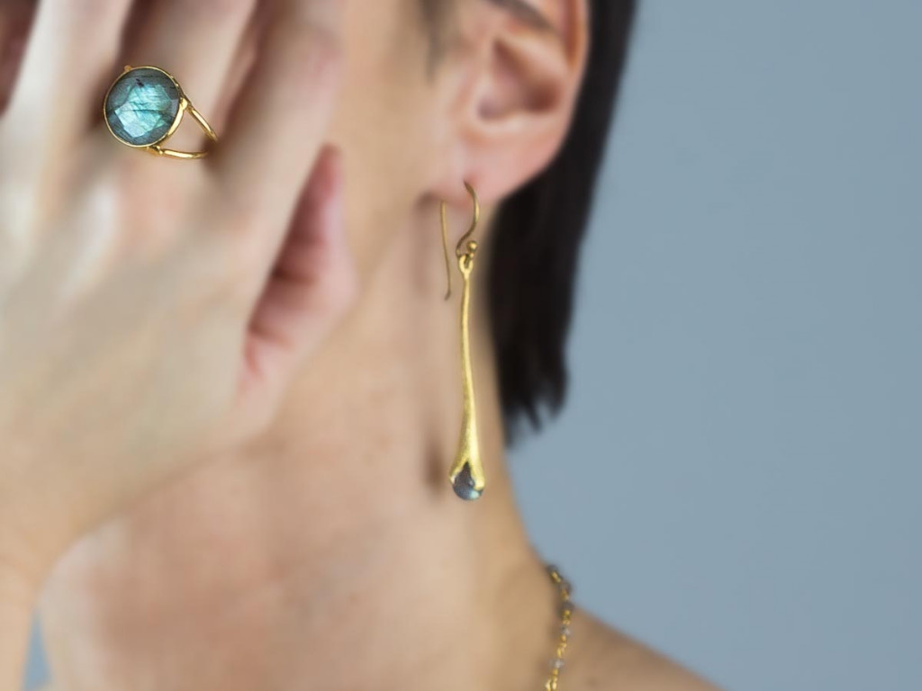Labradorite Spring Drops | earrings in brushed Gold vermeil (sold out)