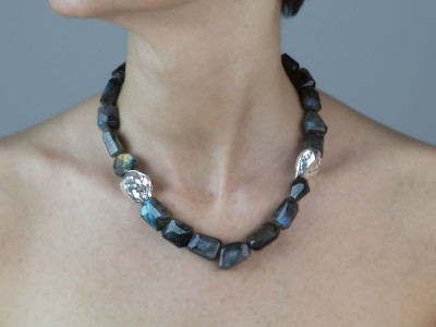 Labradorite Nuggets | Necklace with Sterling Silver applications (custom order)