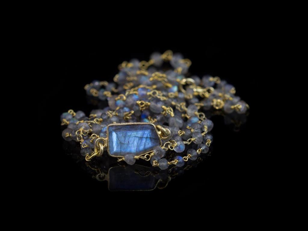 Labradorite Statement Triple Necklace | Gold links and blue shimmering pendant